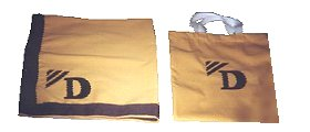 yellow saddle towel and bag